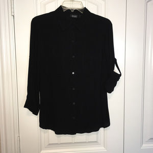 Black Button Front 3/4 Sleeve Shirt by a.n.a.